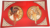 Mucha Goddess Red tray