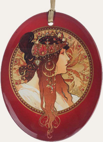 Mucha Brunette on Red