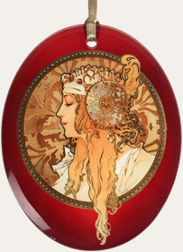 Mucha Blonde on Red
