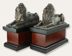 New York Public Library Lion Bookends - Bronze and Wood
